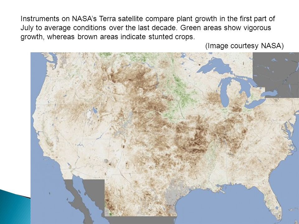 Instruments on NASA's Terra satellite compare plant growth in the first part of July to average conditions over the last decade. Green areas show vigorous growth, whereas brown areas indicate stunted crops.
