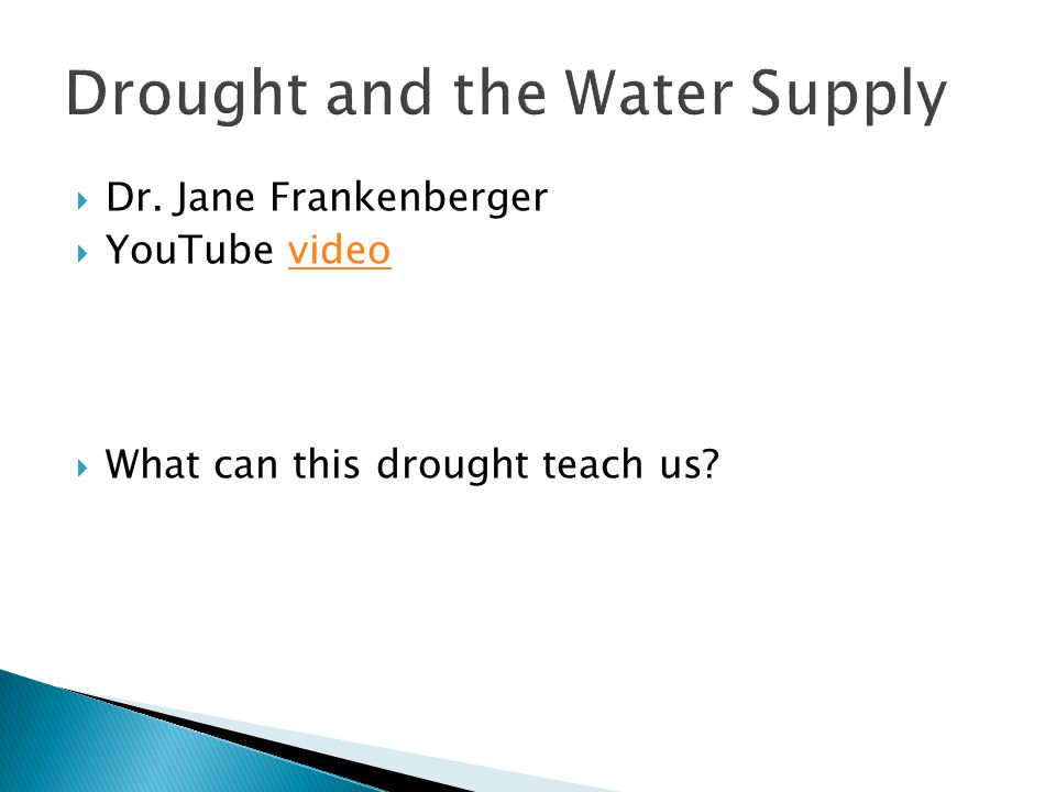 Drought and the Water Supply