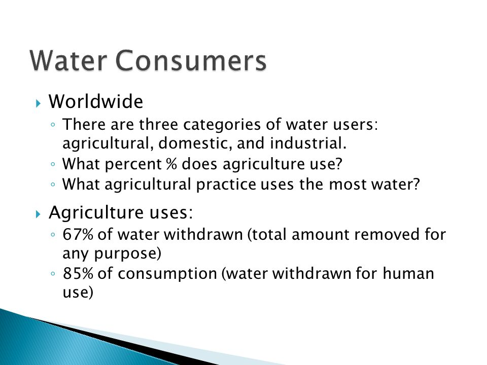 Water Consumers Worldwide Agriculture uses: