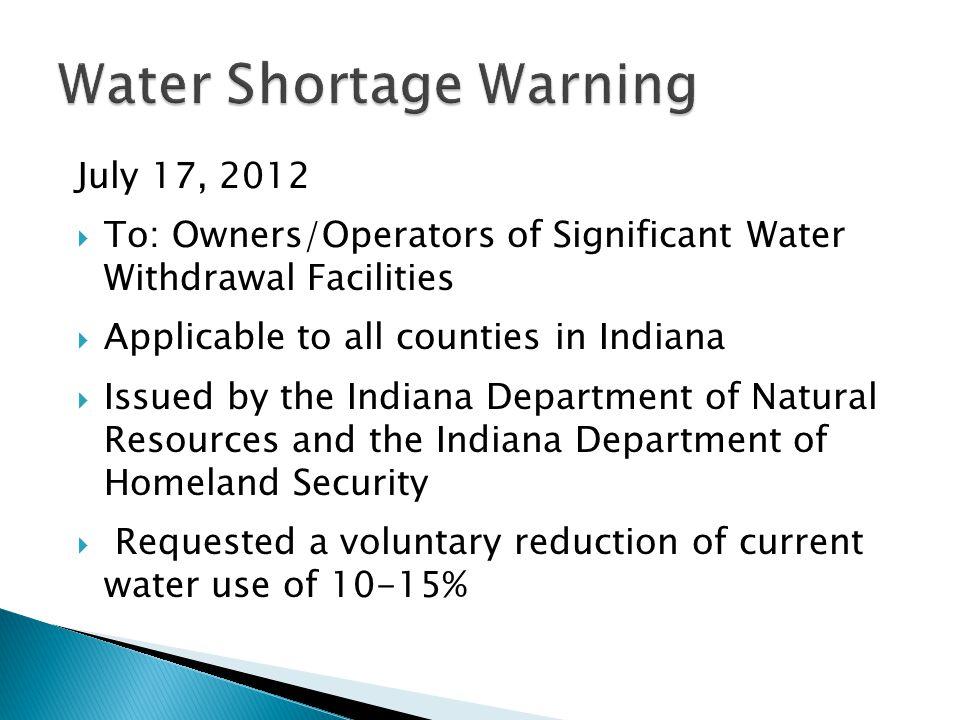 Water Shortage Warning