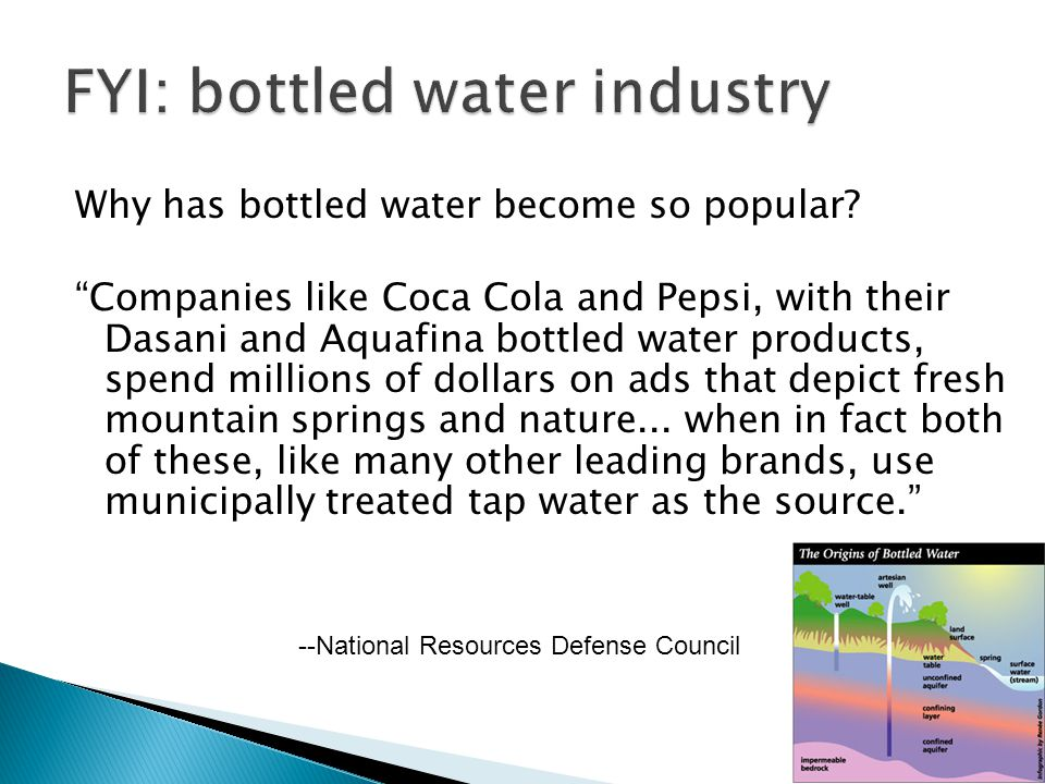 FYI: bottled water industry