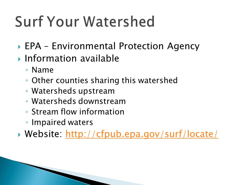 Surf Your Watershed EPA – Environmental Protection Agency