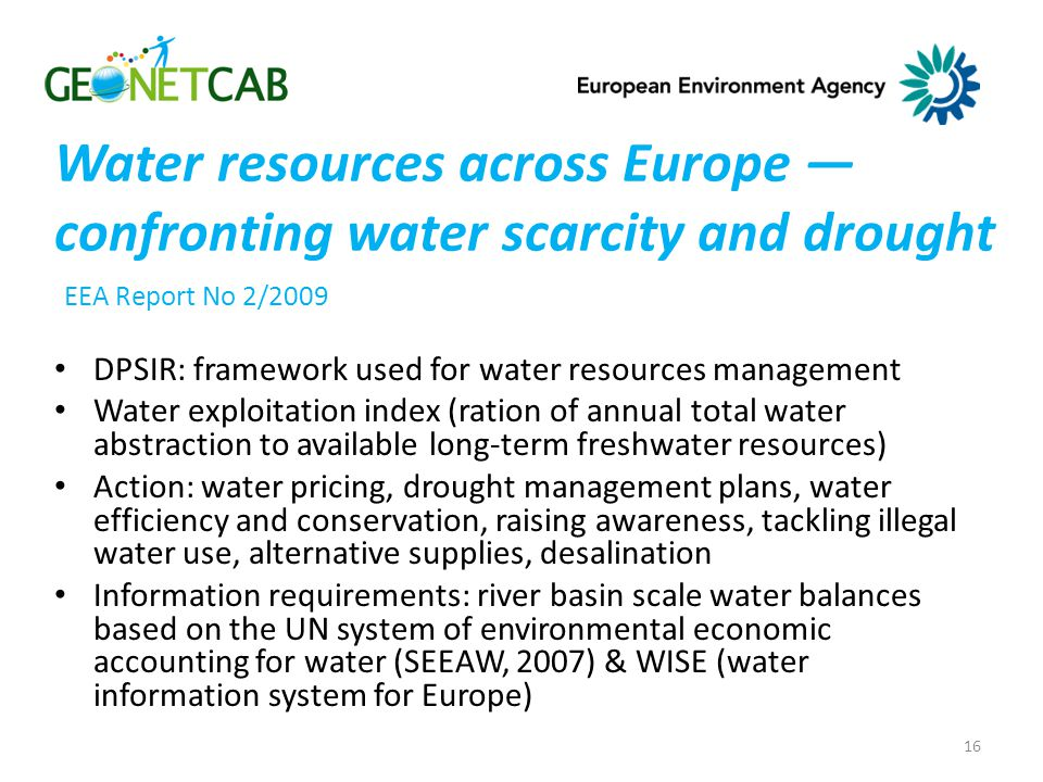 Water resources across Europe — confronting water scarcity and drought EEA Report No 2/2009