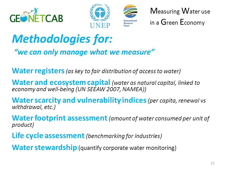 Methodologies for: we can only manage what we measure