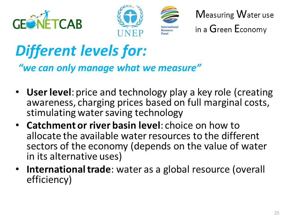 Different levels for: we can only manage what we measure