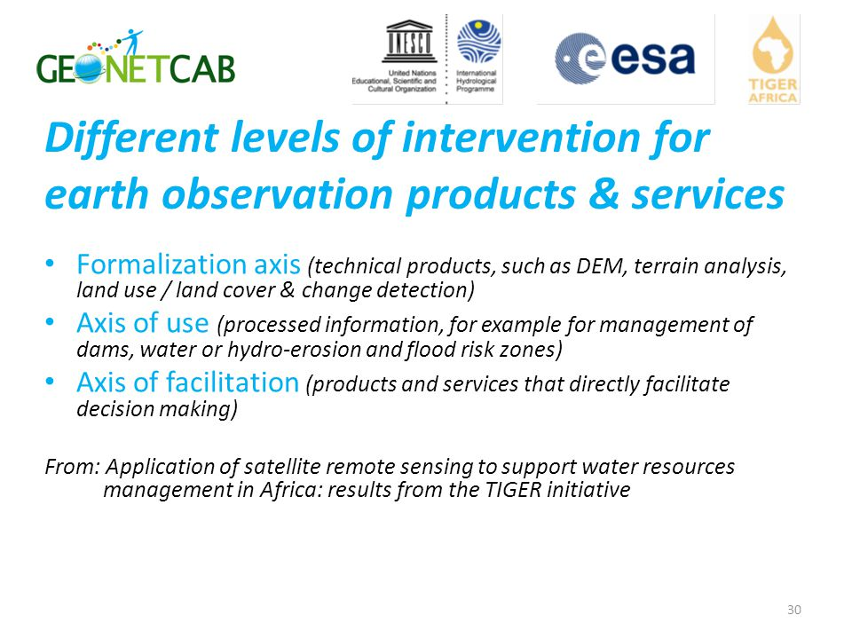 Different levels of intervention for earth observation products & services