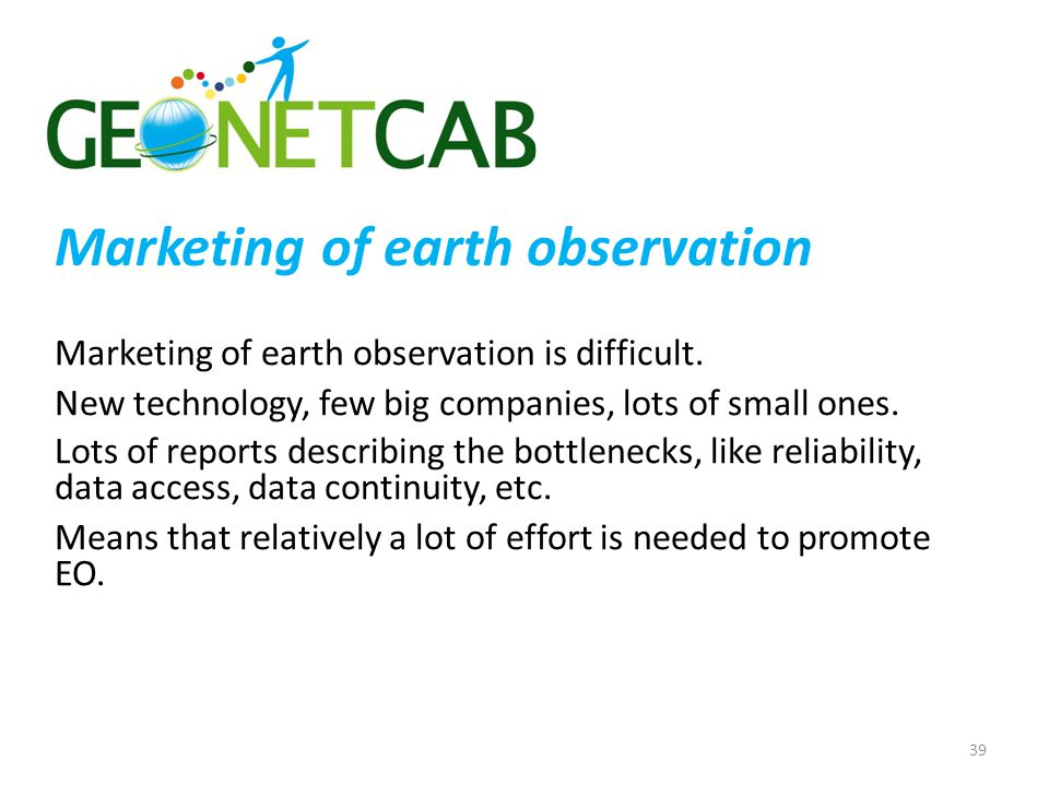 Marketing of earth observation