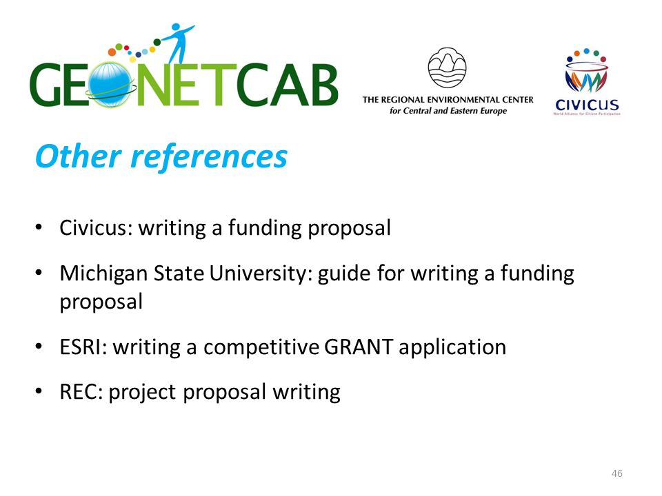 Other references Civicus: writing a funding proposal