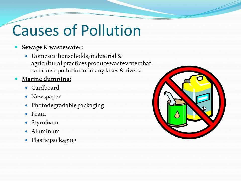 Causes of Pollution Sewage & wastewater: