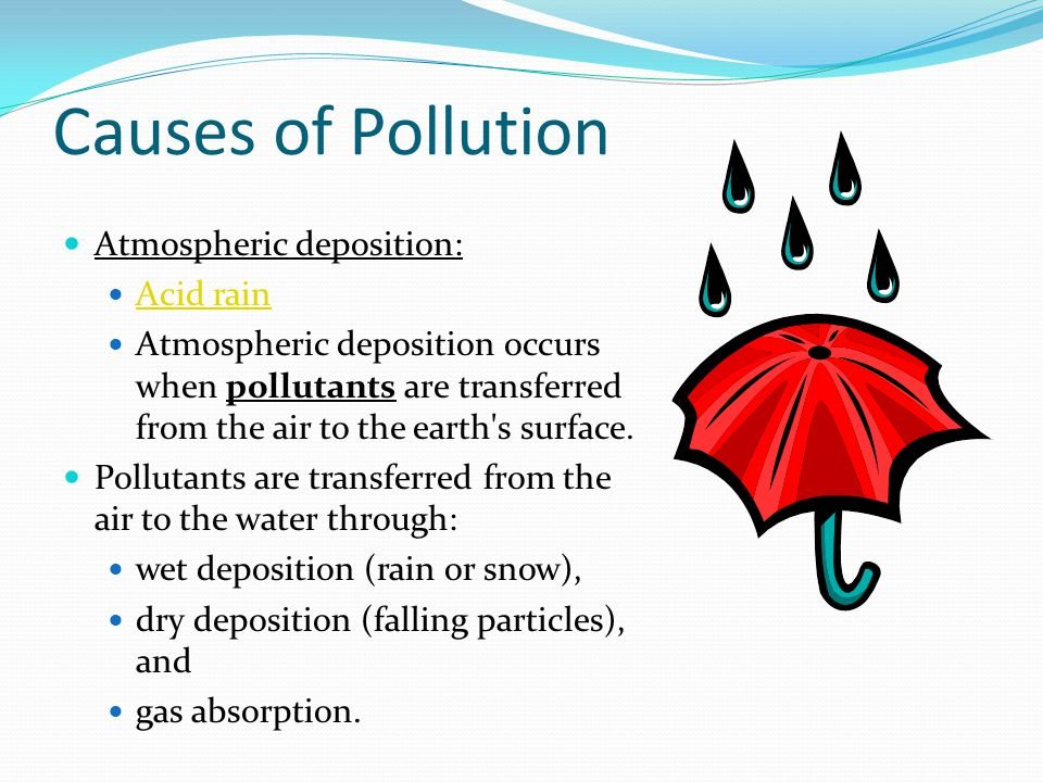 Causes of Pollution Atmospheric deposition: Acid rain