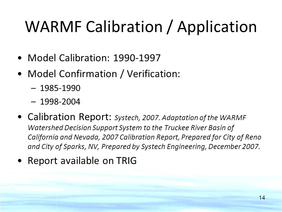 WARMF Calibration / Application