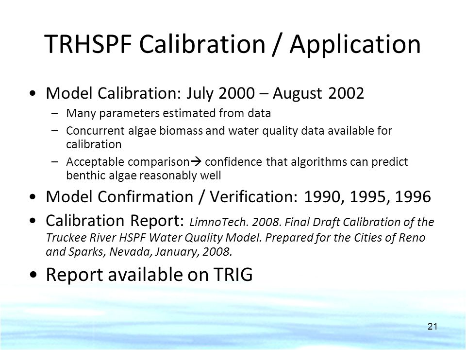 TRHSPF Calibration / Application