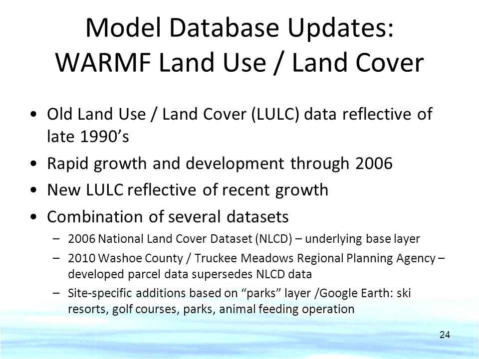 Model Database Updates: WARMF Land Use / Land Cover