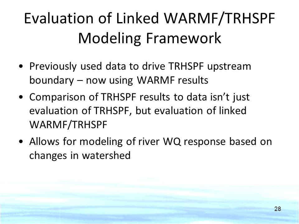 Evaluation of Linked WARMF/TRHSPF Modeling Framework