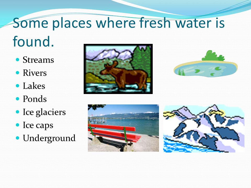 Some places where fresh water is found.