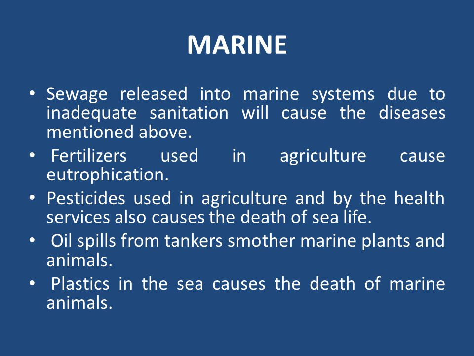 MARINE Sewage released into marine systems due to inadequate sanitation will cause the diseases mentioned above.