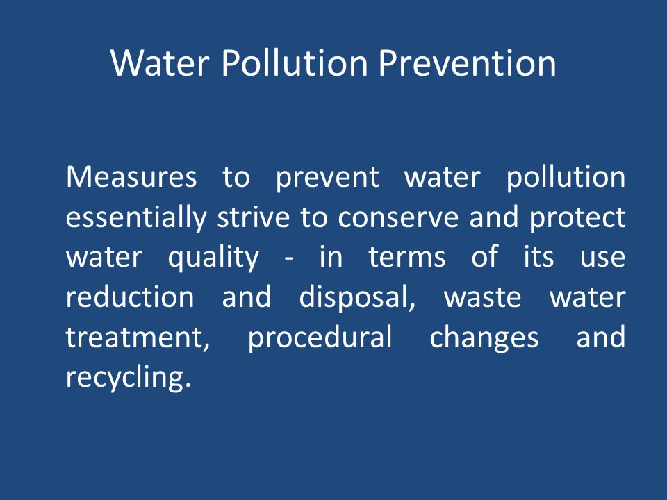 Water Pollution Prevention