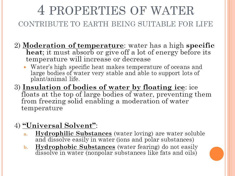 4 properties of water contribute to earth being suitable for life