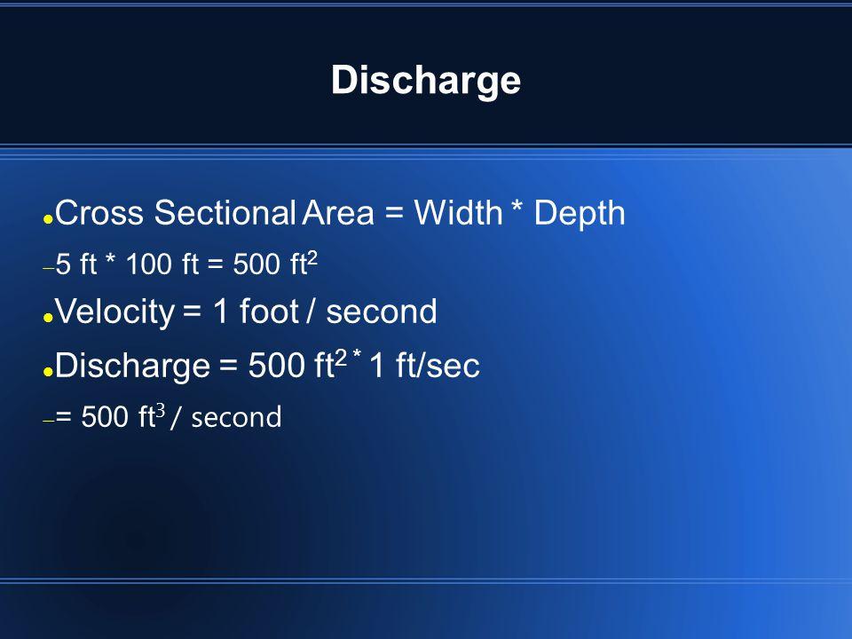 Discharge Cross Sectional Area = Width * Depth