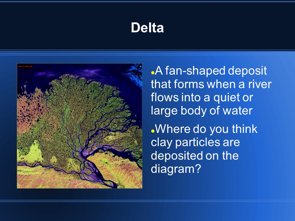 Delta A fan-shaped deposit that forms when a river flows into a quiet or large body of water.