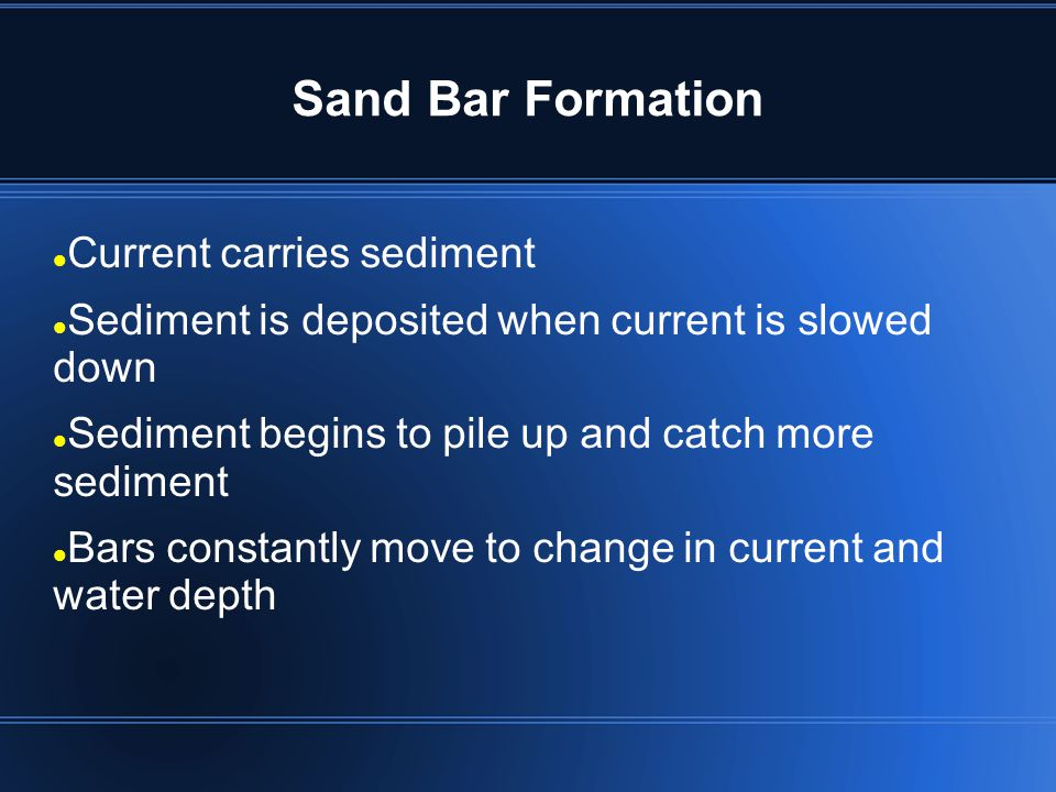 Sand Bar Formation Current carries sediment