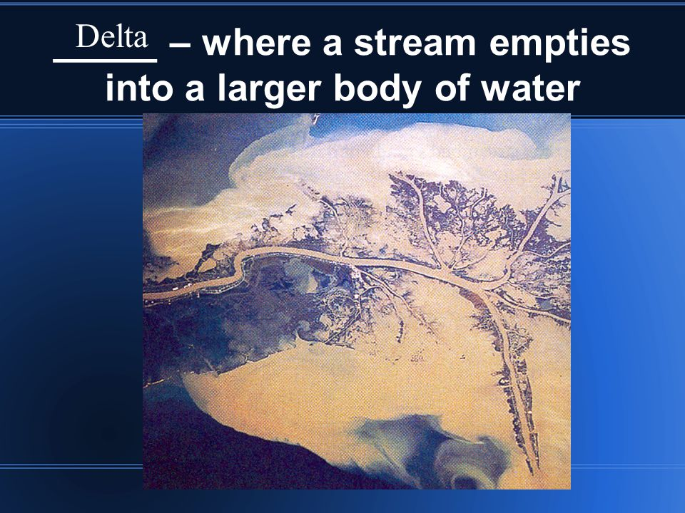_____ – where a stream empties into a larger body of water