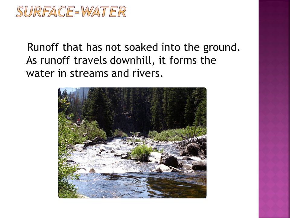 Surface-water Runoff that has not soaked into the ground.