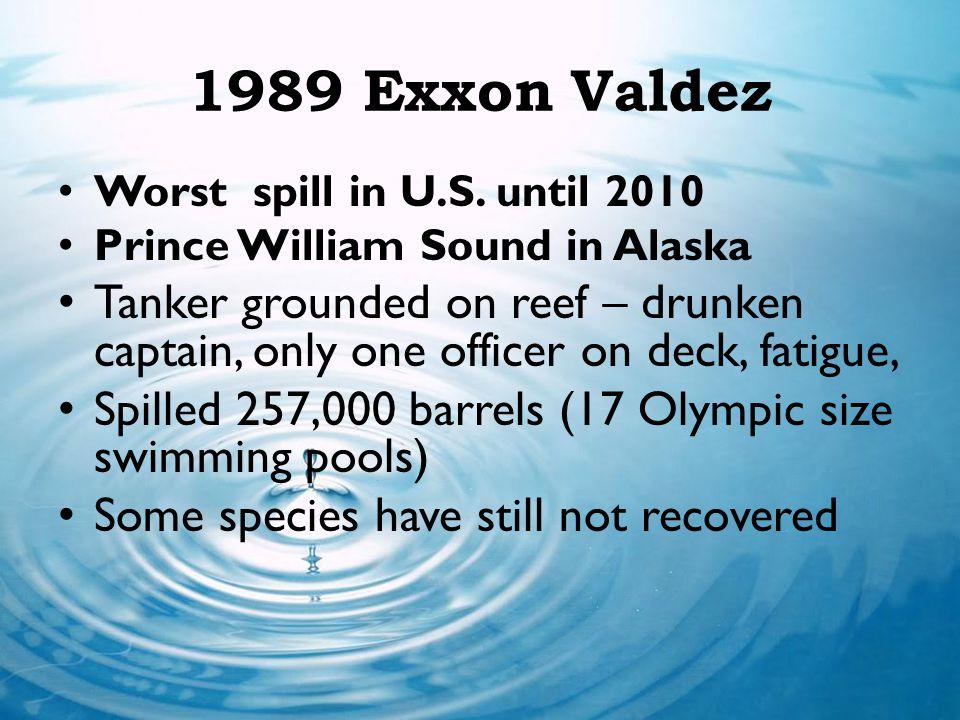 1989 Exxon Valdez Worst spill in U.S. until 2010. Prince William Sound in Alaska.