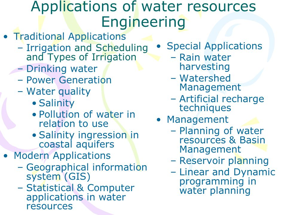 Applications of water resources Engineering