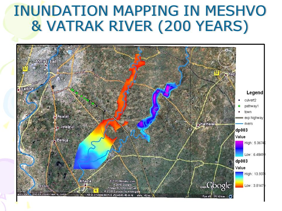 Inundation mapping in Meshvo & vatrak River (200 years)