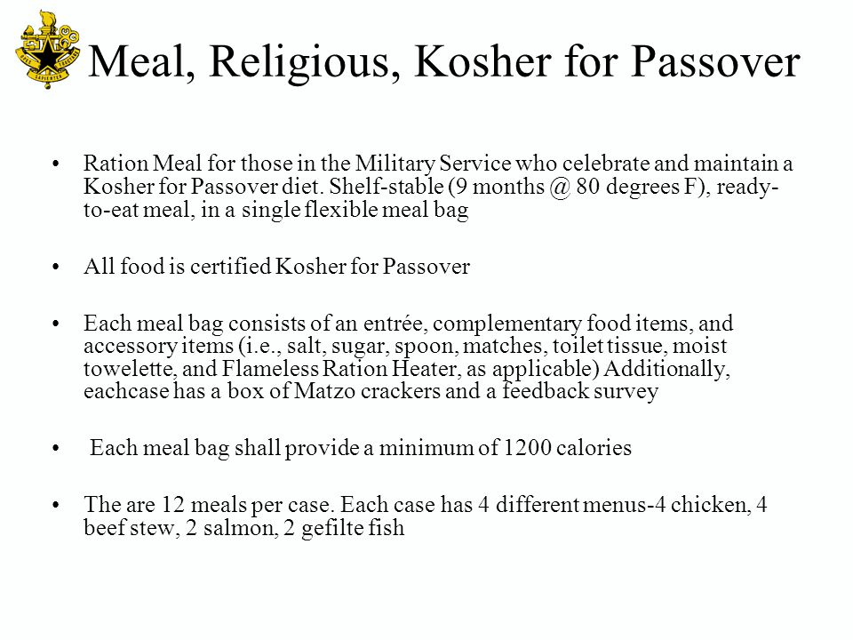 Meal, Religious, Kosher for Passover