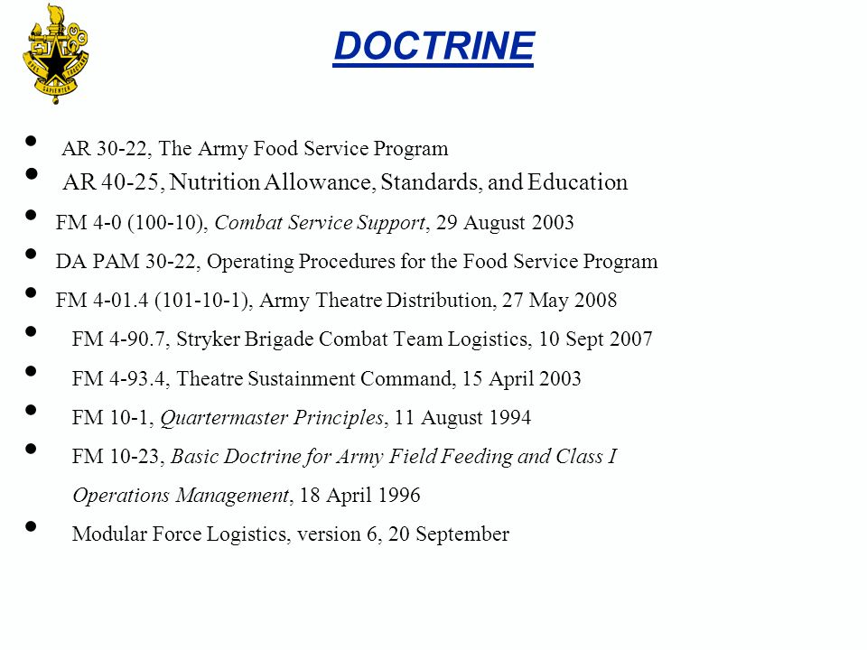 DOCTRINE AR 40-25, Nutrition Allowance, Standards, and Education