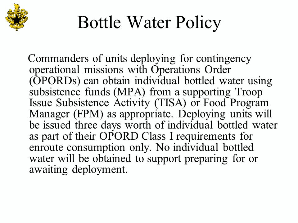 Bottle Water Policy