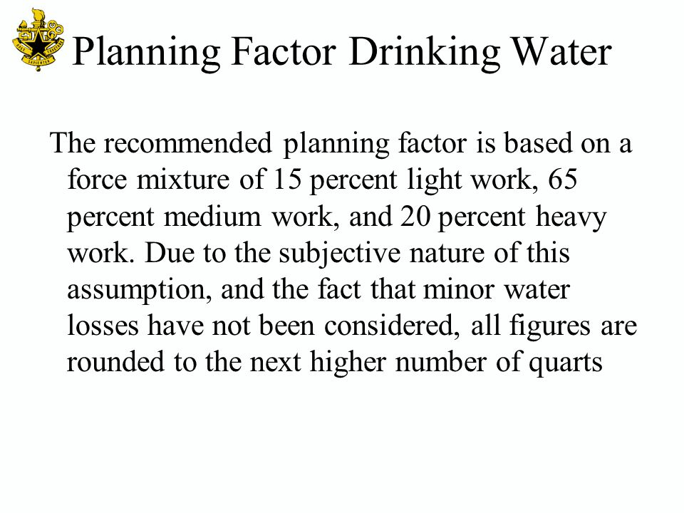 Planning Factor Drinking Water