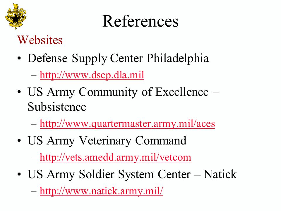References Websites Defense Supply Center Philadelphia