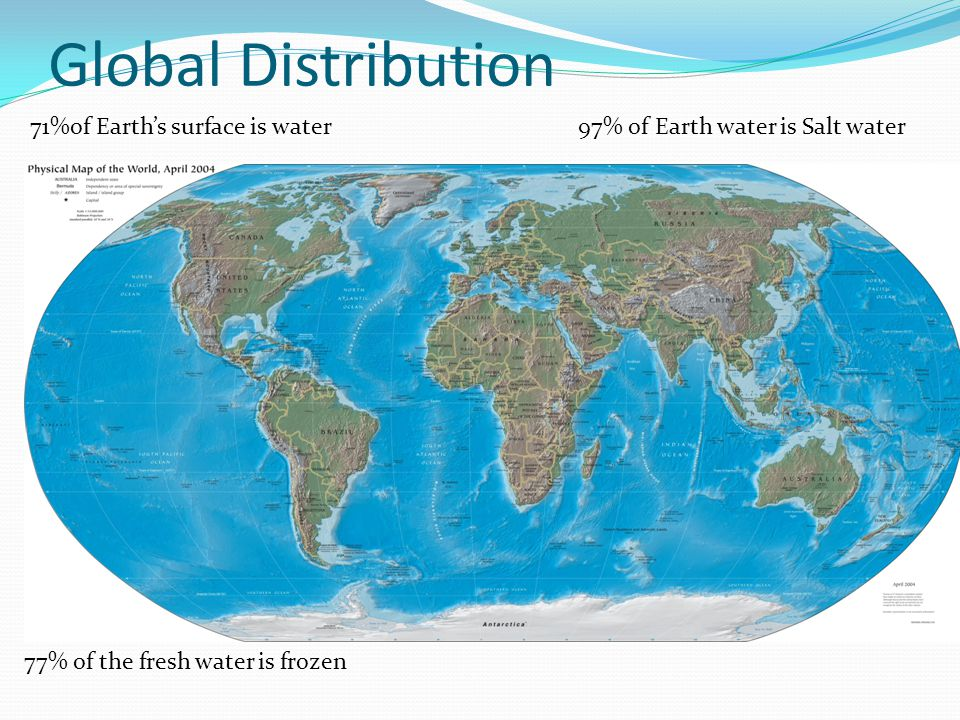 Global Distribution 71%of Earth's surface is water