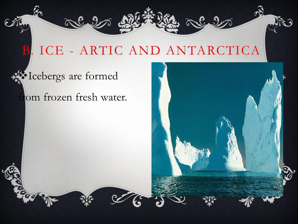 B. Ice - Artic and Antarctica