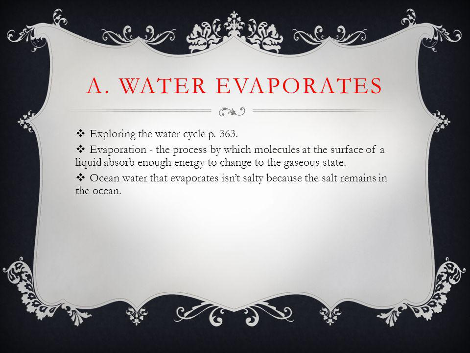 A. Water Evaporates Exploring the water cycle p. 363.