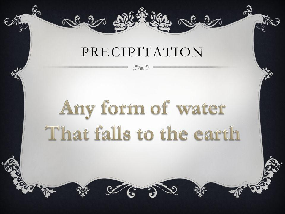 Any form of water That falls to the earth