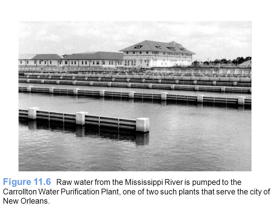 Figure 11.6 Raw water from the Mississippi River is pumped to the Carrollton Water Purification Plant, one of two such plants that serve the city of New Orleans.