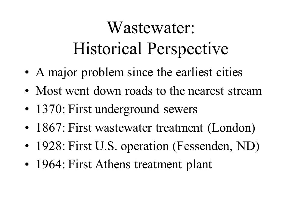 Wastewater: Historical Perspective