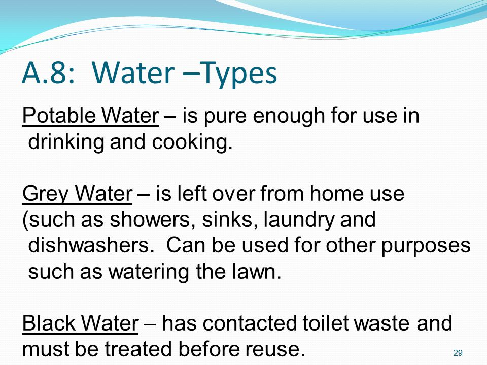 A.8: Water –Types Potable Water – is pure enough for use in