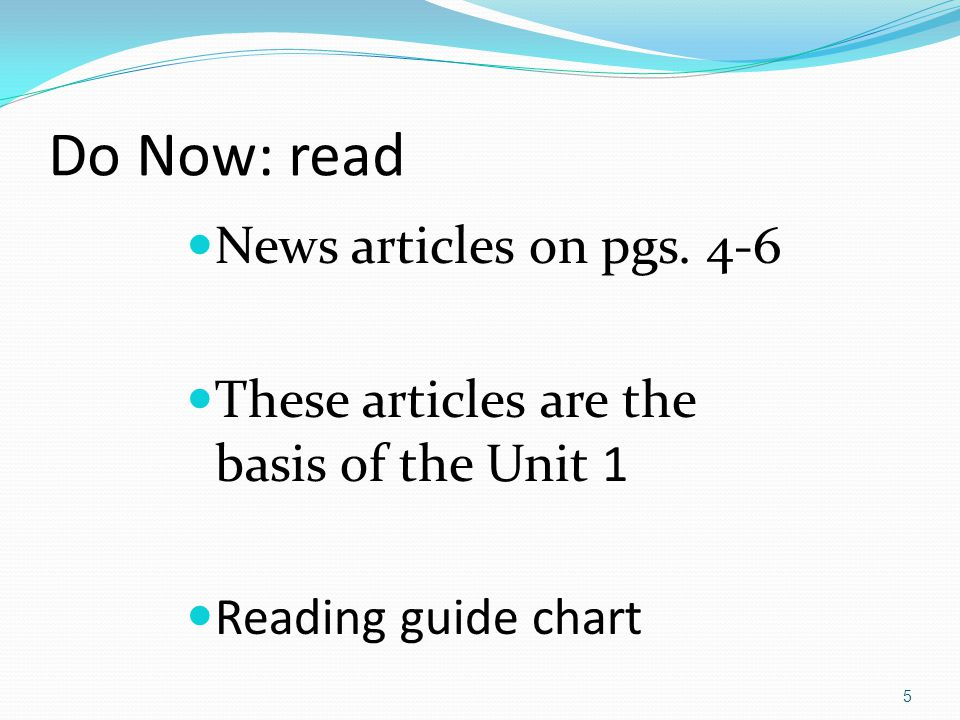 Do Now: read News articles on pgs. 4-6