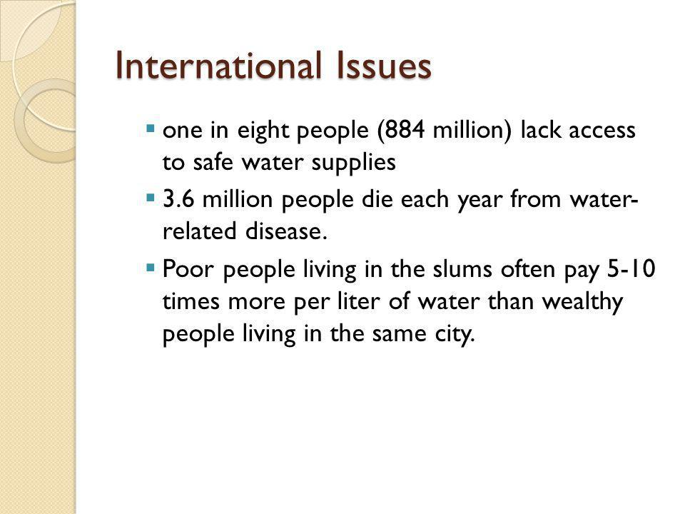 International Issues one in eight people (884 million) lack access to safe water supplies.