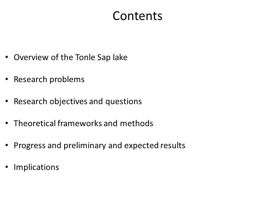 Contents Overview of the Tonle Sap lake Research problems