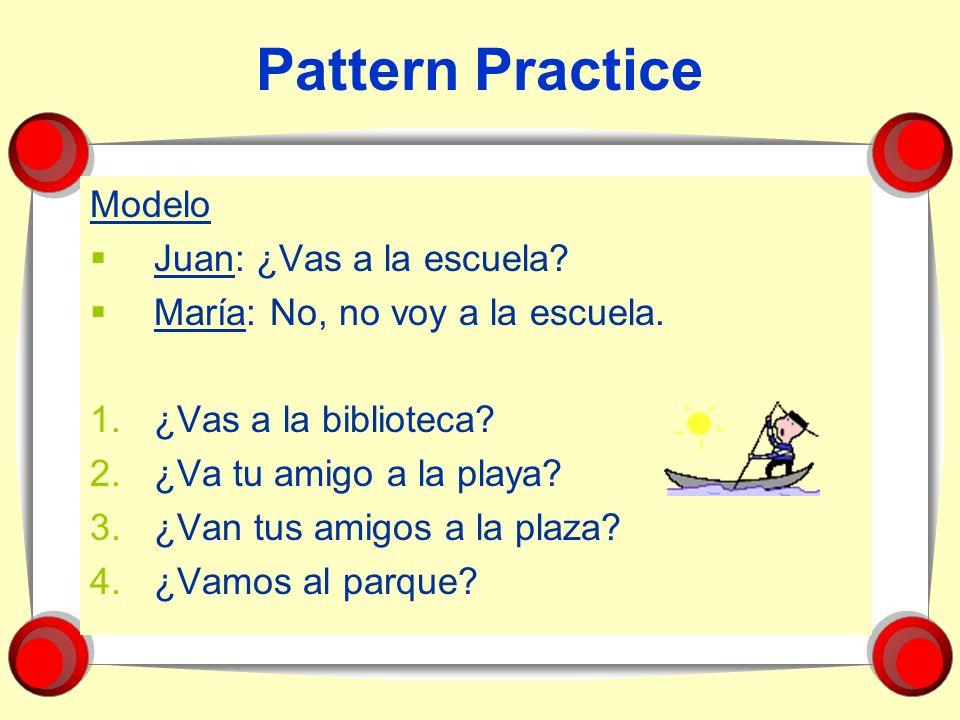 Pattern Practice Modelo Juan: ¿Vas a la escuela
