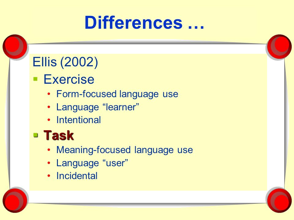 Differences … Ellis (2002) Exercise Task Form-focused language use