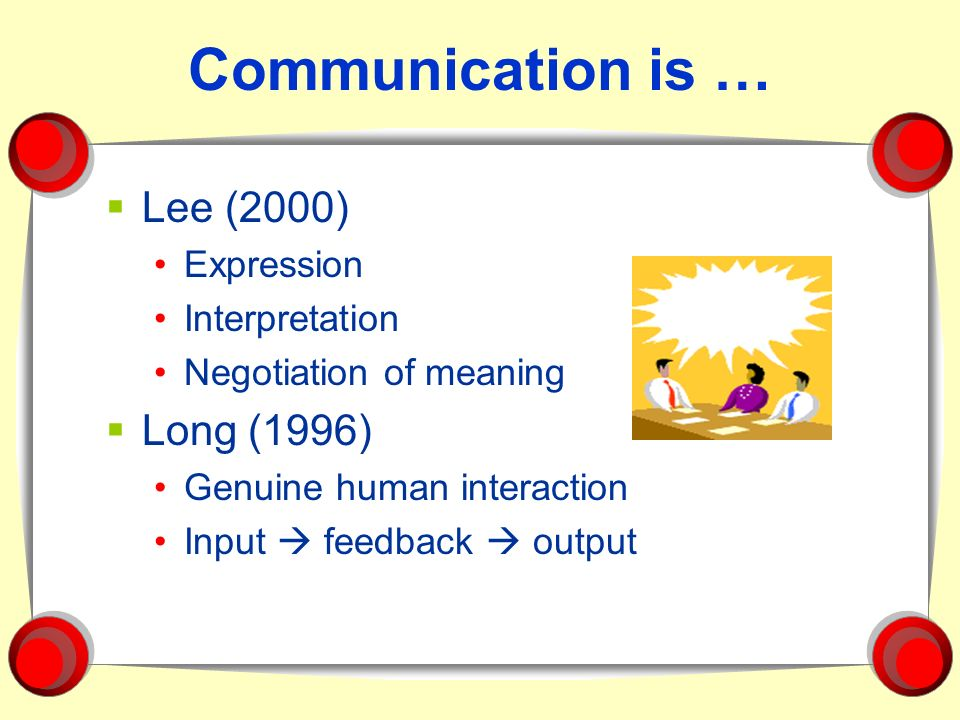 Communication is … Lee (2000) Long (1996) Expression Interpretation