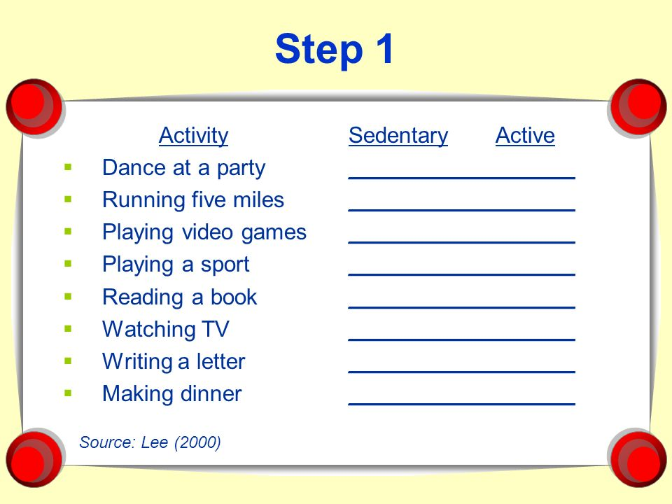 Step 1 Activity Dance at a party Running five miles