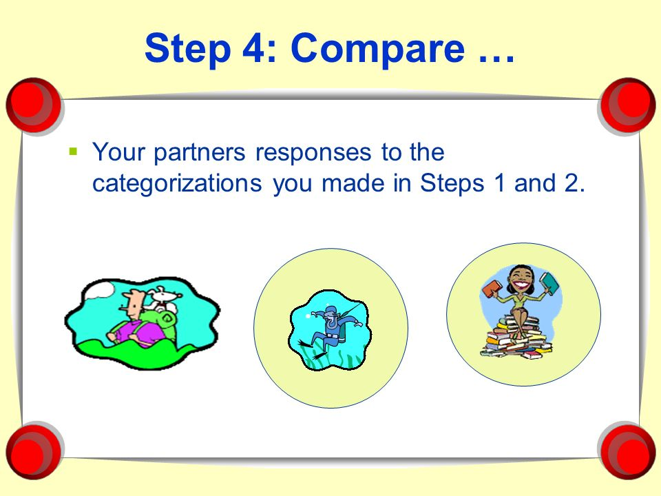 Step 4: Compare … Your partners responses to the categorizations you made in Steps 1 and 2.